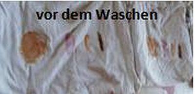Schmutzwäsche vor dem Waschen mit der Waschkugel, der Härtetest