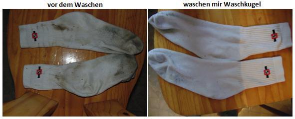 weisse Socken vor und nach dem Waschen mit der Waschkugel