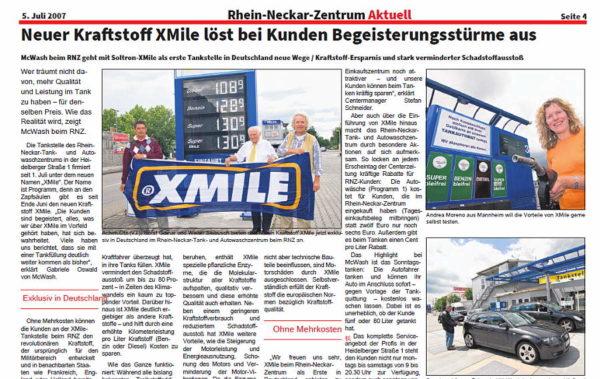 Ausschnitt vom Xmile-Bericht aus der Rhein-Necker Zeitung